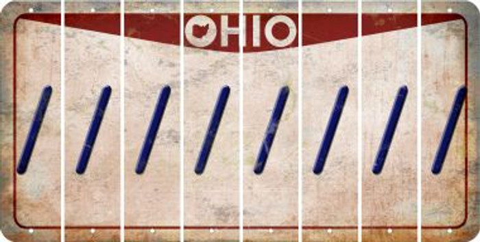 Ohio FORWARD SLASH Cut License Plate Strips (Set of 8) LPS-OH1-042