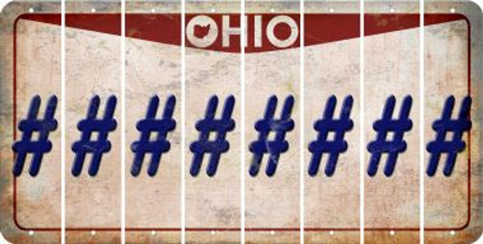 Ohio HASHTAG Cut License Plate Strips (Set of 8) LPS-OH1-043