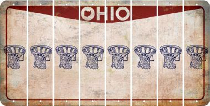 Ohio BASKETBALL HOOP Cut License Plate Strips (Set of 8) LPS-OH1-058