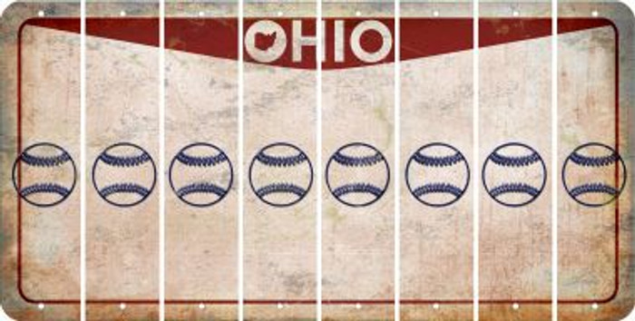 Ohio BASEBALL / SOFTBALL Cut License Plate Strips (Set of 8) LPS-OH1-063