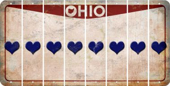 Ohio HEART Cut License Plate Strips (Set of 8) LPS-OH1-081
