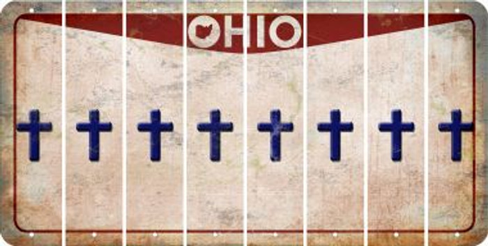 Ohio CROSS Cut License Plate Strips (Set of 8) LPS-OH1-083