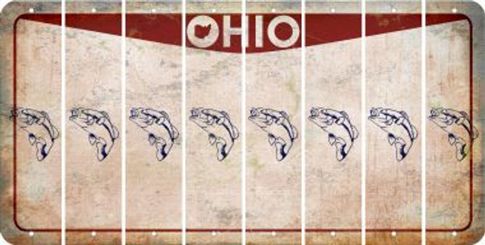 Ohio FISH Cut License Plate Strips (Set of 8) LPS-OH1-086