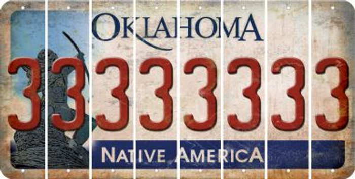 Oklahoma 3 Cut License Plate Strips (Set of 8) LPS-OK1-030