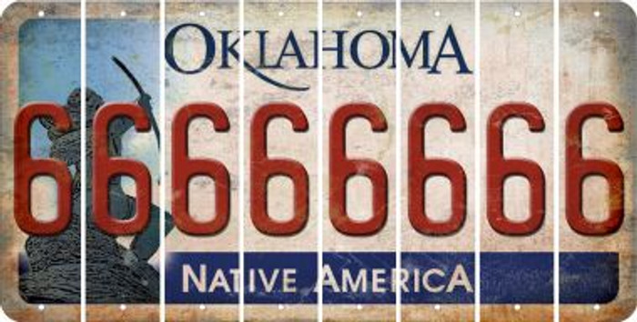 Oklahoma 6 Cut License Plate Strips (Set of 8) LPS-OK1-033