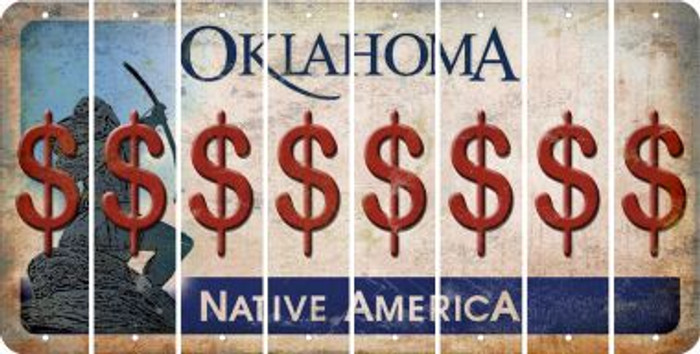 Oklahoma DOLLAR SIGN Cut License Plate Strips (Set of 8) LPS-OK1-040