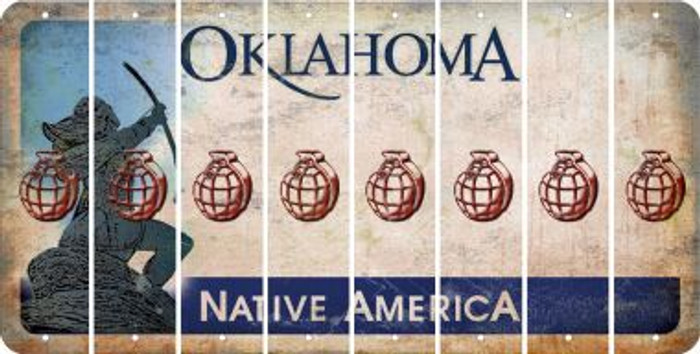 Oklahoma HAND GRENADE Cut License Plate Strips (Set of 8) LPS-OK1-050