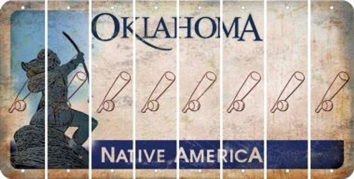 Oklahoma BASEBALL WITH BAT Cut License Plate Strips (Set of 8) LPS-OK1-057