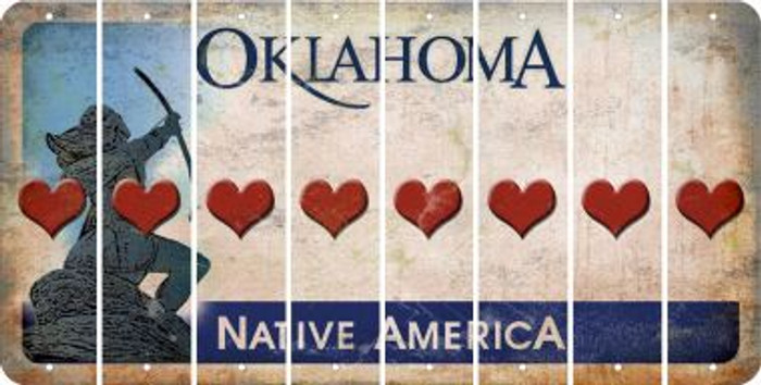 Oklahoma HEART Cut License Plate Strips (Set of 8) LPS-OK1-081