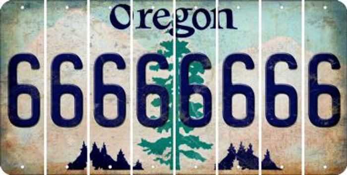 Oregon 6 Cut License Plate Strips (Set of 8) LPS-OR1-033