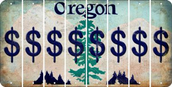 Oregon DOLLAR SIGN Cut License Plate Strips (Set of 8) LPS-OR1-040