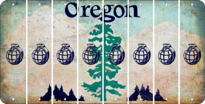 Oregon HAND GRENADE Cut License Plate Strips (Set of 8) LPS-OR1-050