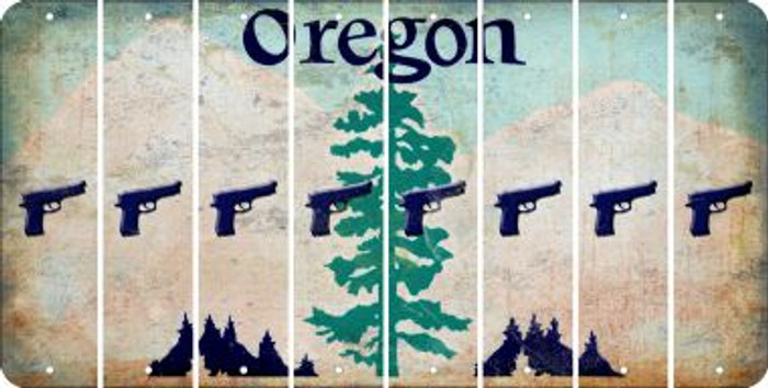 Oregon HANDGUN Cut License Plate Strips (Set of 8) LPS-OR1-051