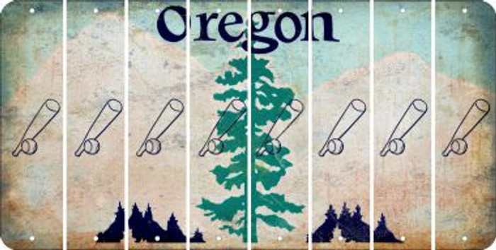 Oregon BASEBALL WITH BAT Cut License Plate Strips (Set of 8) LPS-OR1-057