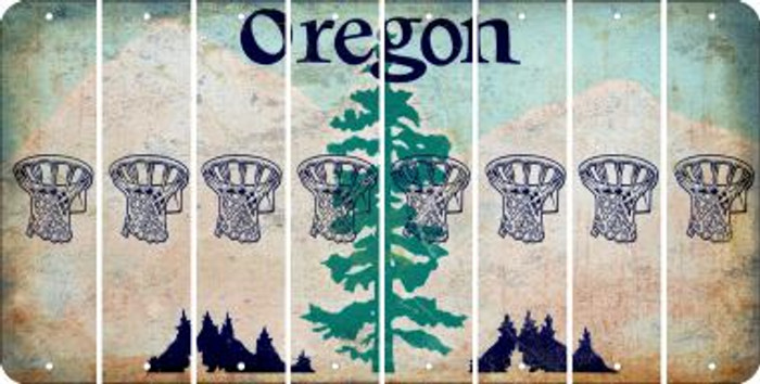 Oregon BASKETBALL HOOP Cut License Plate Strips (Set of 8) LPS-OR1-058