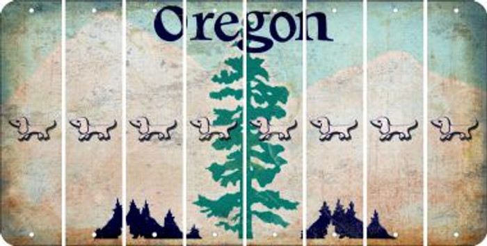 Oregon DOG Cut License Plate Strips (Set of 8) LPS-OR1-073