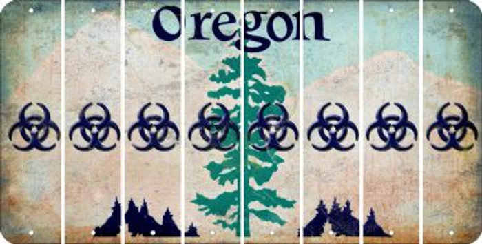 Oregon BIO HAZARD Cut License Plate Strips (Set of 8) LPS-OR1-084