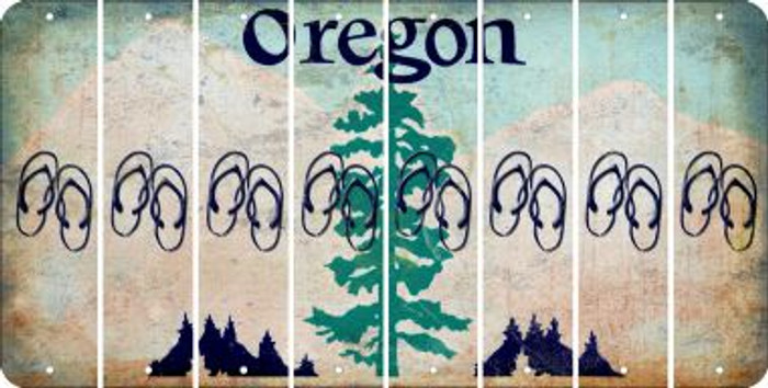 Oregon FLIP FLOPS Cut License Plate Strips (Set of 8) LPS-OR1-085