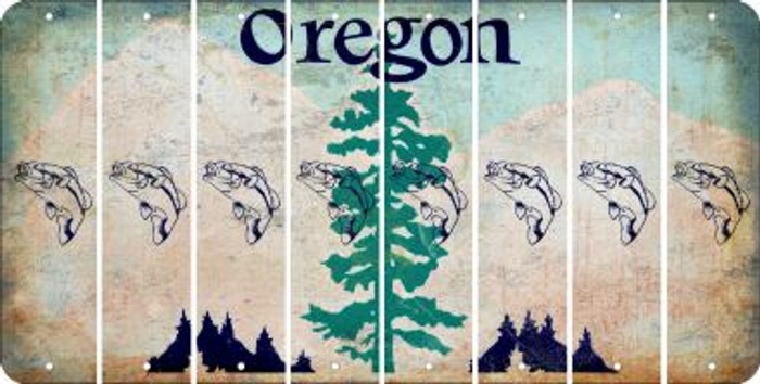 Oregon FISH Cut License Plate Strips (Set of 8) LPS-OR1-086