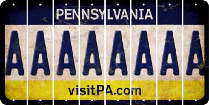 Pennsylvania A Cut License Plate Strips (Set of 8) LPS-PA1-001