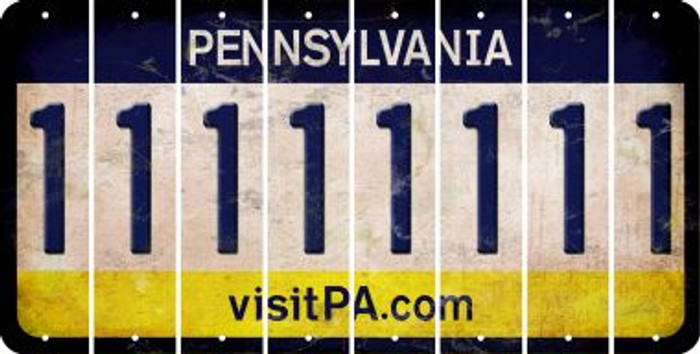 Pennsylvania 1 Cut License Plate Strips (Set of 8) LPS-PA1-028