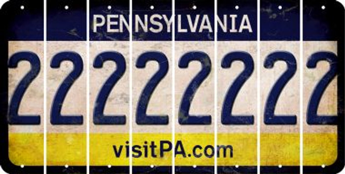 Pennsylvania 2 Cut License Plate Strips (Set of 8) LPS-PA1-029