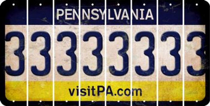 Pennsylvania 3 Cut License Plate Strips (Set of 8) LPS-PA1-030