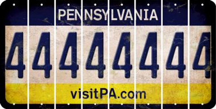 Pennsylvania 4 Cut License Plate Strips (Set of 8) LPS-PA1-031