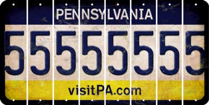 Pennsylvania 5 Cut License Plate Strips (Set of 8) LPS-PA1-032