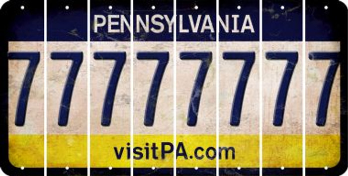 Pennsylvania 7 Cut License Plate Strips (Set of 8) LPS-PA1-034