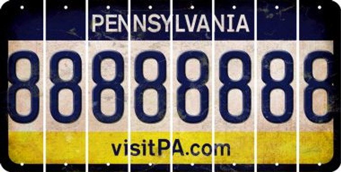 Pennsylvania 8 Cut License Plate Strips (Set of 8) LPS-PA1-035