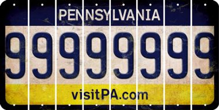 Pennsylvania 9 Cut License Plate Strips (Set of 8) LPS-PA1-036