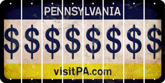 Pennsylvania DOLLAR SIGN Cut License Plate Strips (Set of 8) LPS-PA1-040