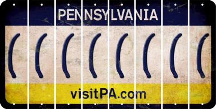 Pennsylvania LEFT PARENTHESIS Cut License Plate Strips (Set of 8) LPS-PA1-045