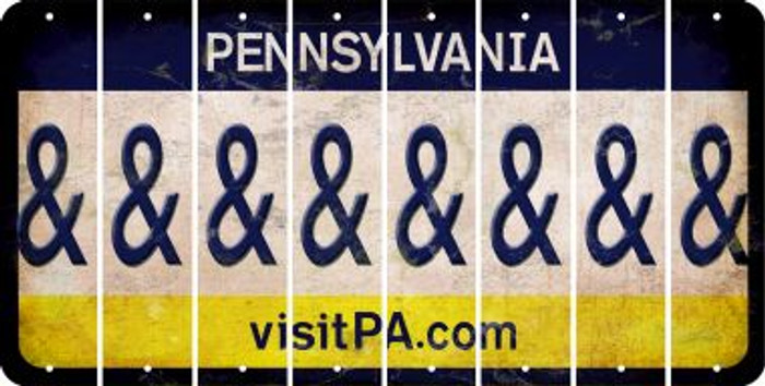 Pennsylvania AMPERSAND Cut License Plate Strips (Set of 8) LPS-PA1-049