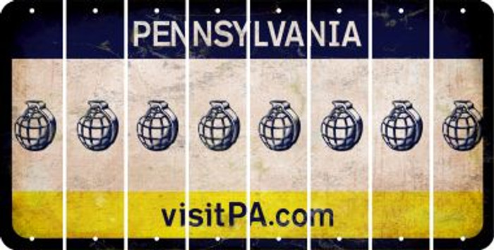 Pennsylvania HAND GRENADE Cut License Plate Strips (Set of 8) LPS-PA1-050