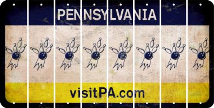 Pennsylvania BOWLING Cut License Plate Strips (Set of 8) LPS-PA1-059