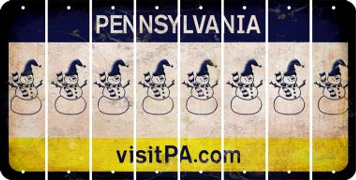 Pennsylvania SNOWMAN Cut License Plate Strips (Set of 8) LPS-PA1-079
