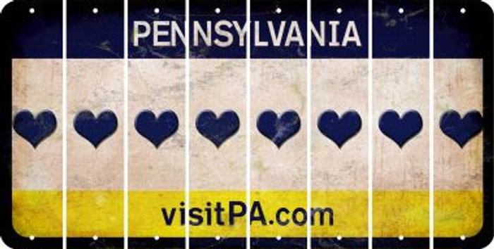 Pennsylvania HEART Cut License Plate Strips (Set of 8) LPS-PA1-081
