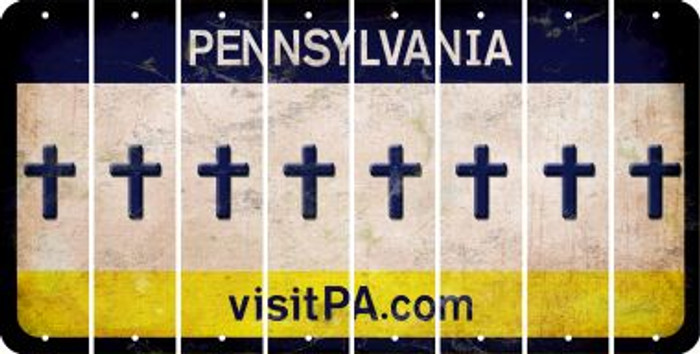 Pennsylvania CROSS Cut License Plate Strips (Set of 8) LPS-PA1-083