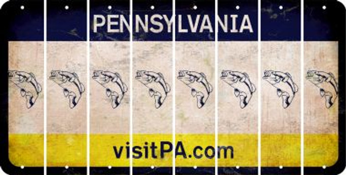 Pennsylvania FISH Cut License Plate Strips (Set of 8) LPS-PA1-086