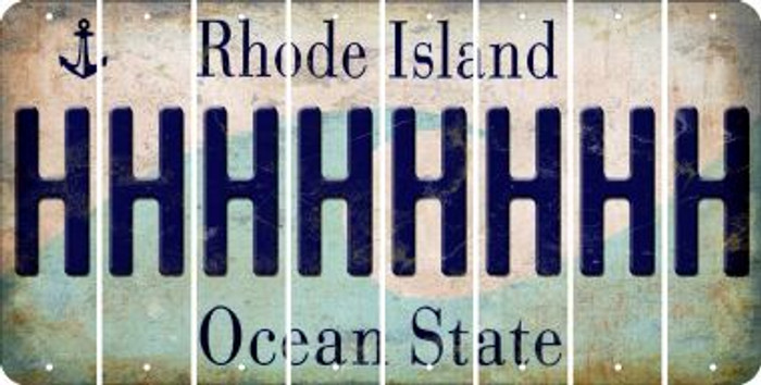 Rhode Island H Cut License Plate Strips (Set of 8) LPS-RI1-008