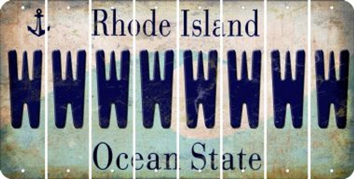 Rhode Island W Cut License Plate Strips (Set of 8) LPS-RI1-023