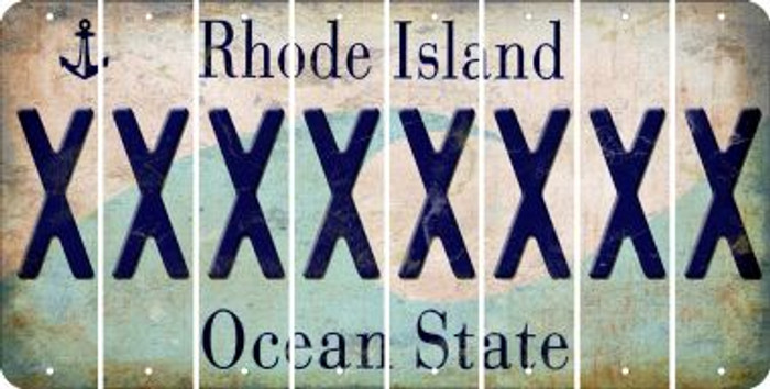 Rhode Island X Cut License Plate Strips (Set of 8) LPS-RI1-024
