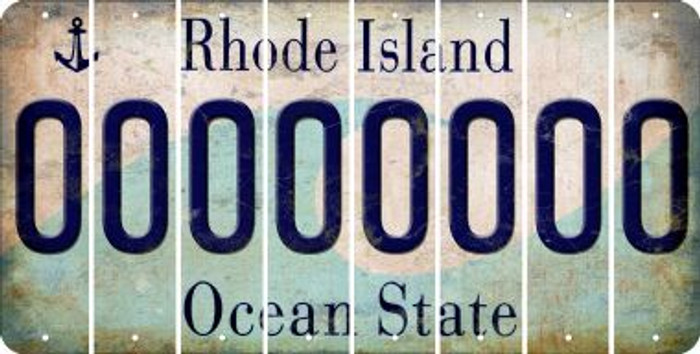 Rhode Island 0 Cut License Plate Strips (Set of 8) LPS-RI1-027