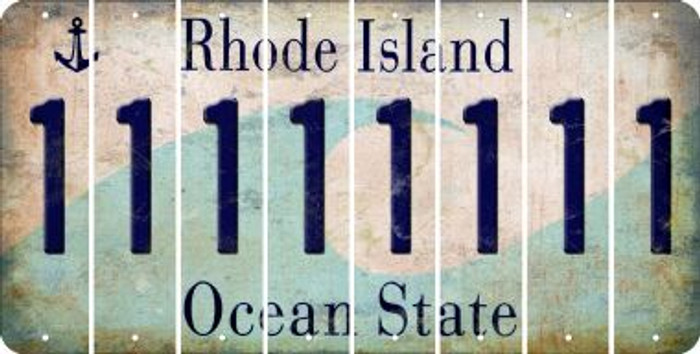 Rhode Island 1 Cut License Plate Strips (Set of 8) LPS-RI1-028