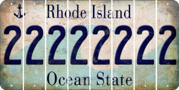 Rhode Island 2 Cut License Plate Strips (Set of 8) LPS-RI1-029