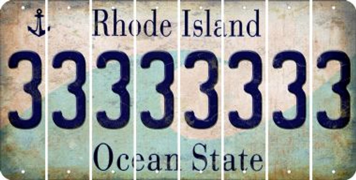 Rhode Island 3 Cut License Plate Strips (Set of 8) LPS-RI1-030
