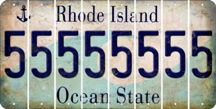 Rhode Island 5 Cut License Plate Strips (Set of 8) LPS-RI1-032