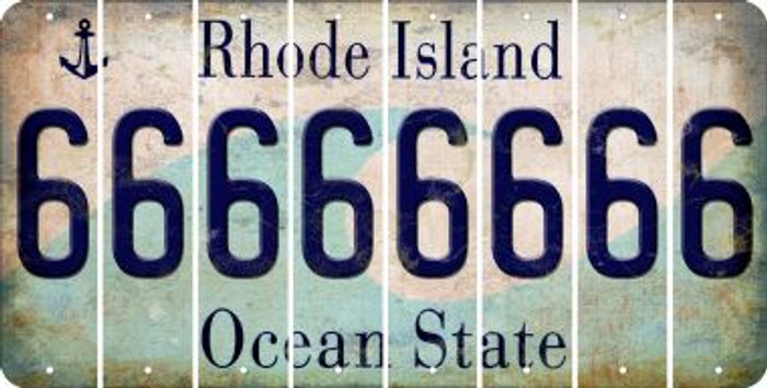 Rhode Island 6 Cut License Plate Strips (Set of 8) LPS-RI1-033